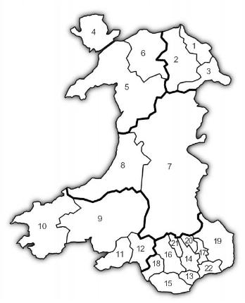 Map of Wales showing the 22 regional areas