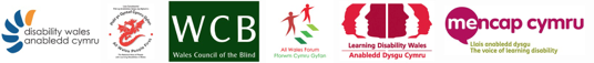 logos for disability wales, all wales people first, wales council for blind people, all wales forum, learning disability wales and mencap cymru