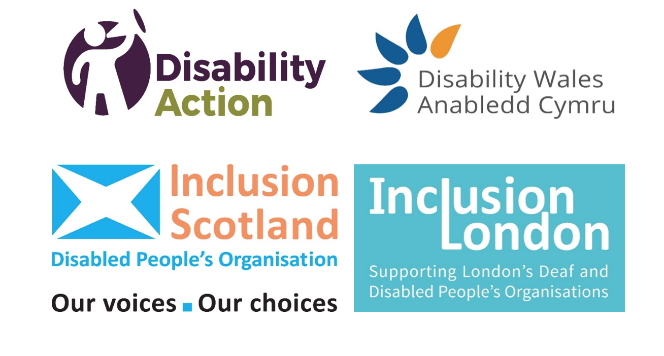 Logos of DPO partners: Disability Wales, Disability Action NI, Inclusion Scotland and Inclusion London