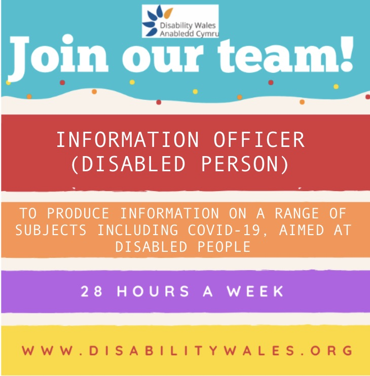 Join our team poster with information about the vacancy in different coloured boxes such as red and purple