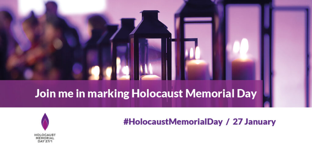 Join us in marking Holocaust Memorial Day, 27 January. Candles flicker above the text