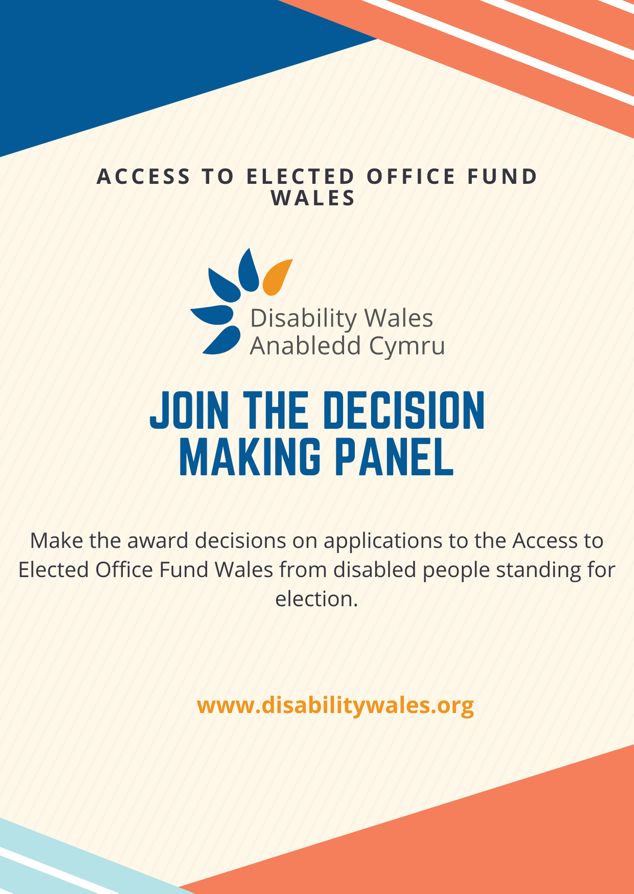 Job advert poster: Access to Elected Office Fund Wales - Join the panel.