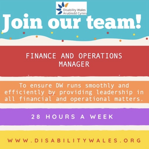 Colourful job poster, detailing information about the Finance and Operations Manager role. 28 hours per week