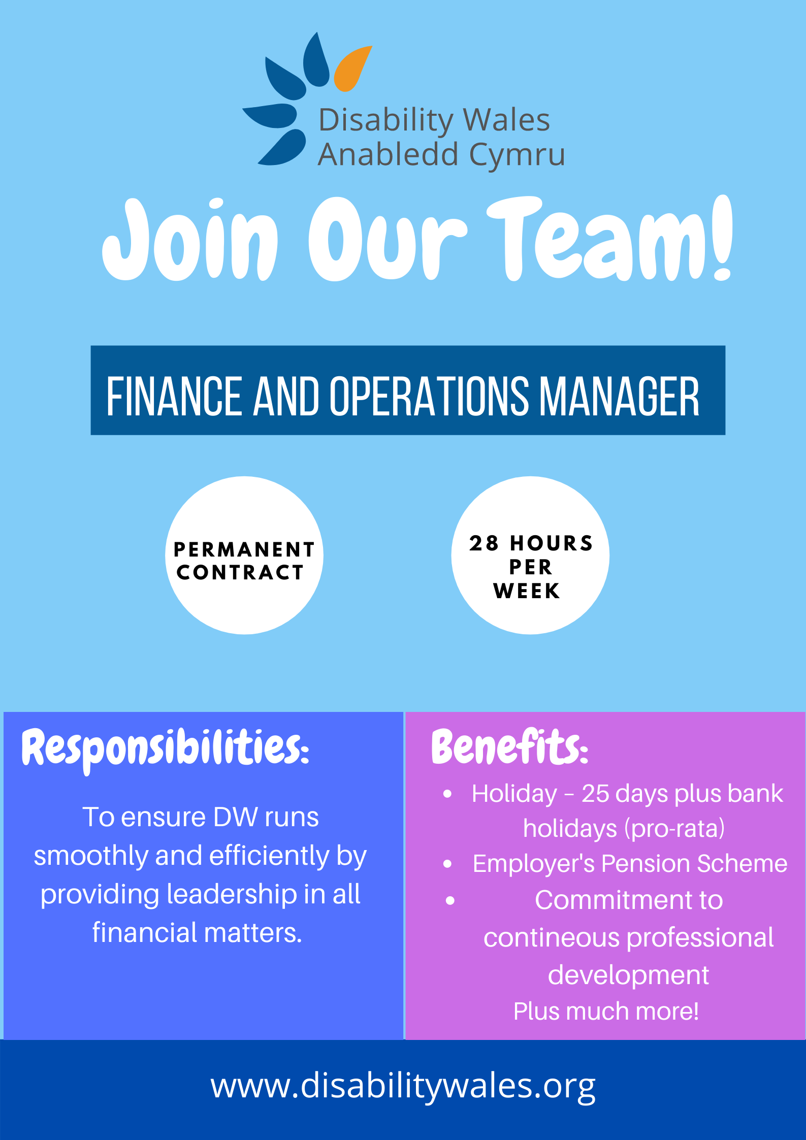 A blue job advert poster with the words Join our team in big white writing underneath a small DW logo. The job title: Finance and Operations Manager is in the centre with more details about the role underneath, including hours: 28 hours per week, permanent contract.