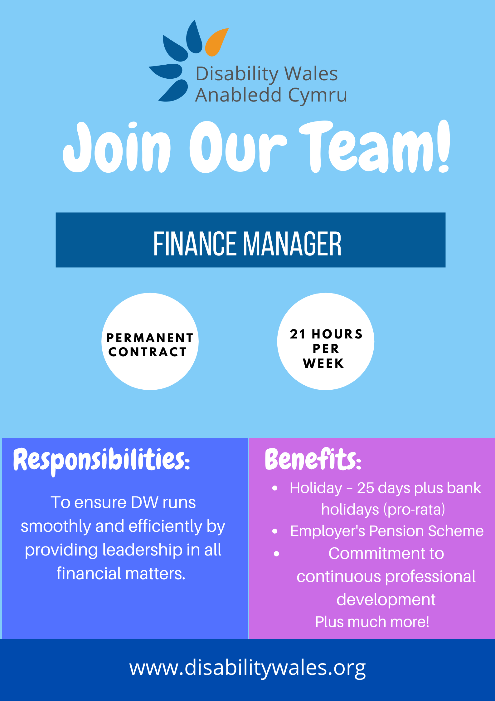 A blue job advert poster with the words Join our team in big white writing underneath a small DW logo. The job title: Finance Manager is in the centre with more details about the role underneath, including hours: 21 hours per week, permanent contract.